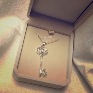 Silver key necklace with cubic zirconium & heart